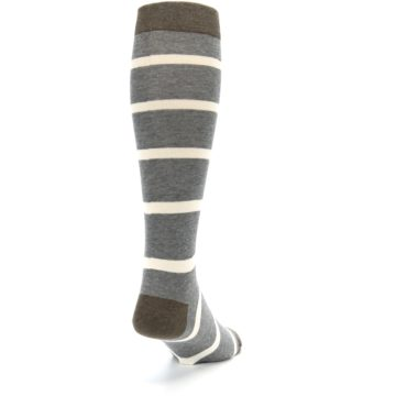 Image of Grey Cream Stripe Men's Over-the-Calf Dress Socks (side-1-back-20)