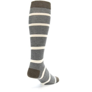Image of Grey Cream Stripe Men's Over-the-Calf Dress Socks (side-1-back-21)
