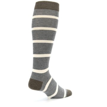 Image of Grey Cream Stripe Men's Over-the-Calf Dress Socks (side-1-back-22)