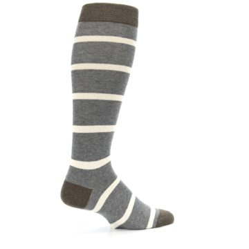 Image of Grey Cream Stripe Men's Over-the-Calf Dress Socks (side-1-23)