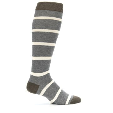Image of Grey Cream Stripe Men's Over-the-Calf Dress Socks (side-1-24)