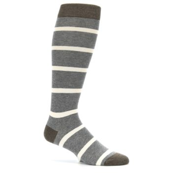 Image of Grey Cream Stripe Men's Over-the-Calf Dress Socks (side-1-25)