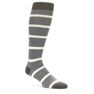 Image of Grey Cream Stripe Men's Over-the-Calf Dress Socks (side-1-26)