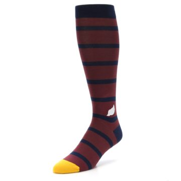 Image of Maroon Navy Stripe Men's Over-the-Calf Dress Socks (side-2-front-08)