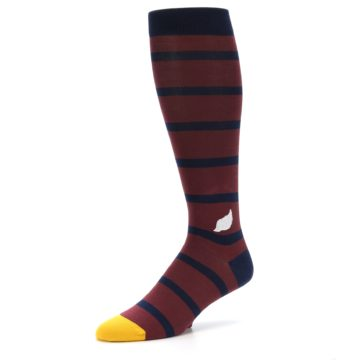 Image of Maroon Navy Stripe Men's Over-the-Calf Dress Socks (side-2-09)