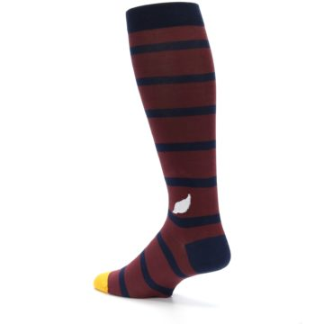 Image of Maroon Navy Stripe Men's Over-the-Calf Dress Socks (side-2-back-14)