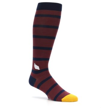 Image of Maroon Navy Stripe Men's Over-the-Calf Dress Socks (side-1-26)