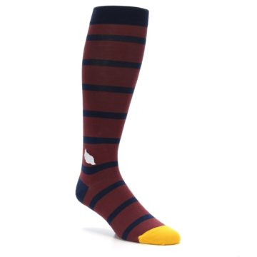 Image of Maroon Navy Stripe Men's Over-the-Calf Dress Socks (side-1-27)
