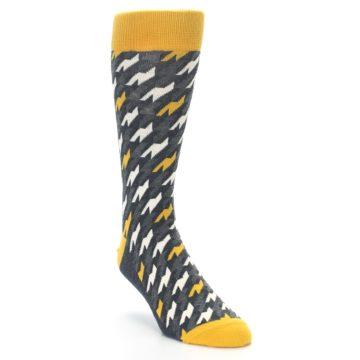 Image of Charcoal Mustard Houndstooth Men's Dress Socks (side-1-front-02)