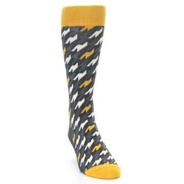 Image of Charcoal Mustard Houndstooth Men's Dress Socks (side-1-front-03)