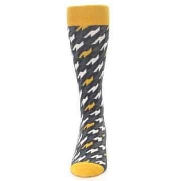 Image of Charcoal Mustard Houndstooth Men's Dress Socks (front-05)