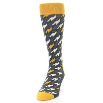 Image of Charcoal Mustard Houndstooth Men's Dress Socks (side-2-front-06)