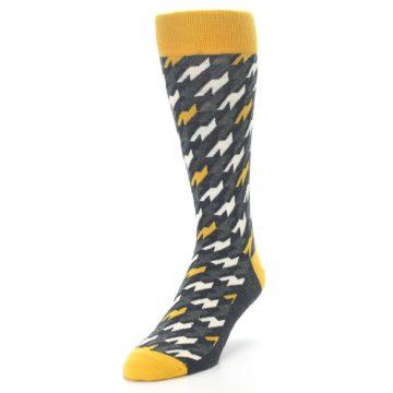 Image of Charcoal Mustard Houndstooth Men's Dress Socks (side-2-front-07)