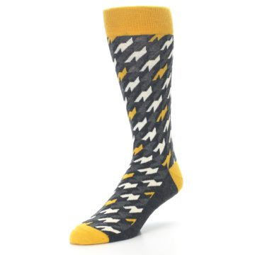 Image of Charcoal Mustard Houndstooth Men's Dress Socks (side-2-front-08)
