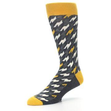 Image of Charcoal Mustard Houndstooth Men's Dress Socks (side-2-09)