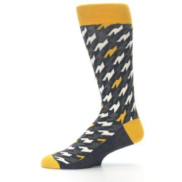 Image of Charcoal Mustard Houndstooth Men's Dress Socks (side-2-11)