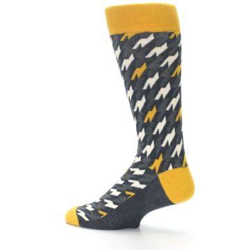Image of Charcoal Mustard Houndstooth Men's Dress Socks (side-2-13)