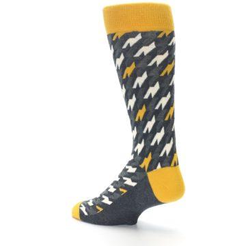 Image of Charcoal Mustard Houndstooth Men's Dress Socks (side-2-back-14)