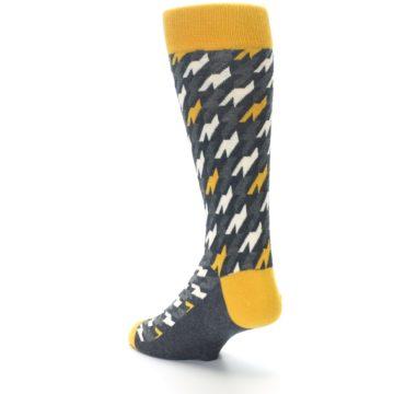 Image of Charcoal Mustard Houndstooth Men's Dress Socks (side-2-back-15)