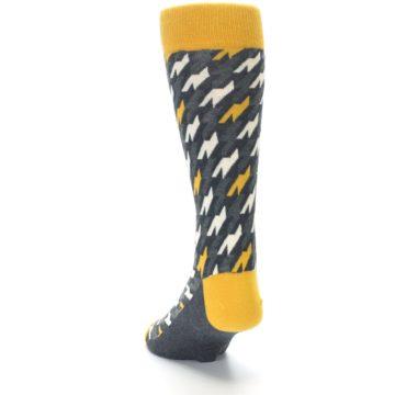 Image of Charcoal Mustard Houndstooth Men's Dress Socks (side-2-back-16)