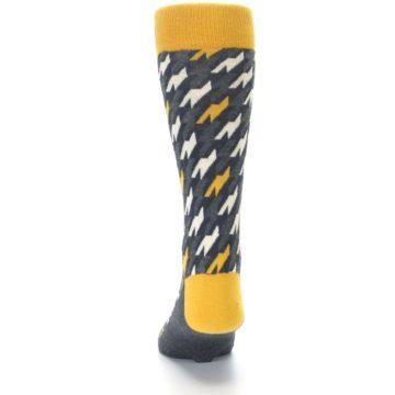 Image of Charcoal Mustard Houndstooth Men's Dress Socks (back-17)