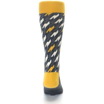Image of Charcoal Mustard Houndstooth Men's Dress Socks (back-18)