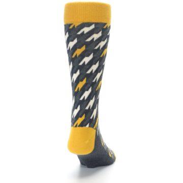 Image of Charcoal Mustard Houndstooth Men's Dress Socks (back-19)