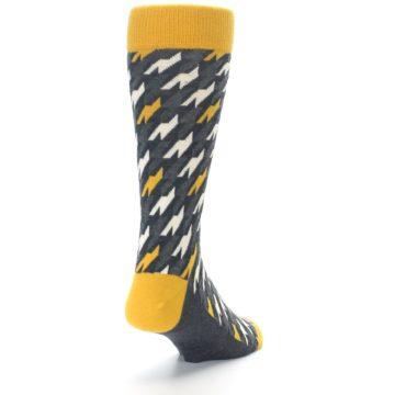 Image of Charcoal Mustard Houndstooth Men's Dress Socks (side-1-back-20)