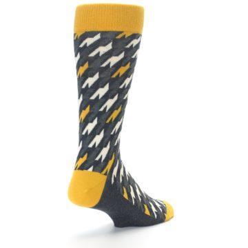 Image of Charcoal Mustard Houndstooth Men's Dress Socks (side-1-back-21)