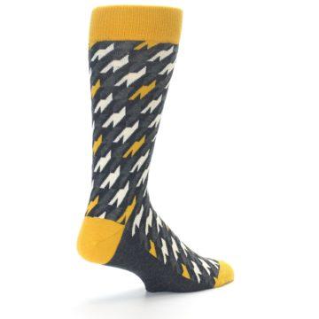 Image of Charcoal Mustard Houndstooth Men's Dress Socks (side-1-back-22)