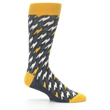 Image of Charcoal Mustard Houndstooth Men's Dress Socks (side-1-25)