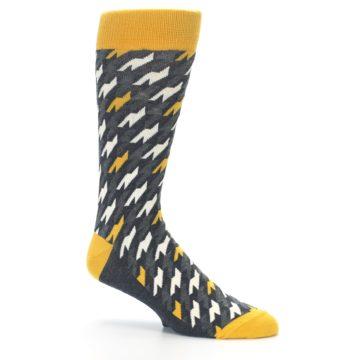 Image of Charcoal Mustard Houndstooth Men's Dress Socks (side-1-26)