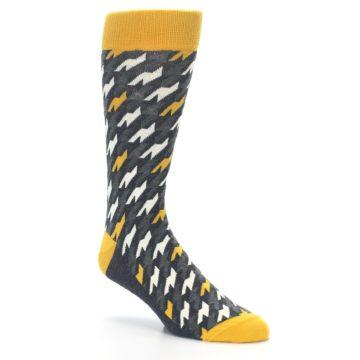 Image of Charcoal Mustard Houndstooth Men's Dress Socks (side-1-27)
