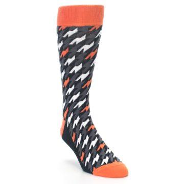 Image of Orange Black Houndstooth Men's Dress Socks (side-1-front-02)