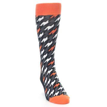 Image of Orange Black Houndstooth Men's Dress Socks (side-1-front-03)