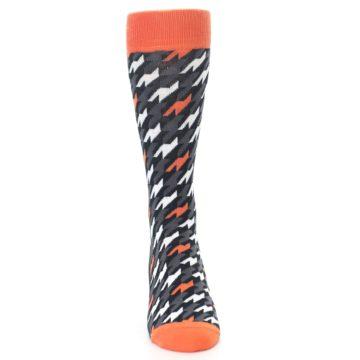 Image of Orange Black Houndstooth Men's Dress Socks (front-04)