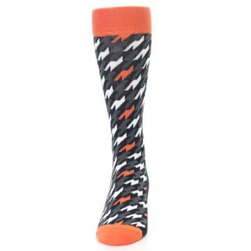 Image of Orange Black Houndstooth Men's Dress Socks (front-05)