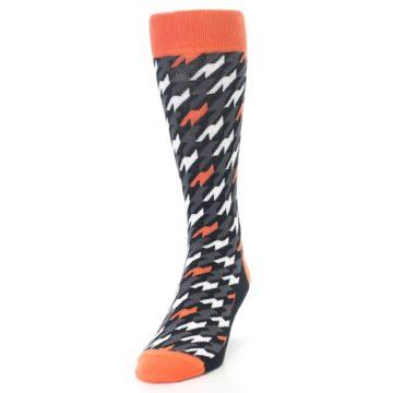 Image of Orange Black Houndstooth Men's Dress Socks (side-2-front-06)