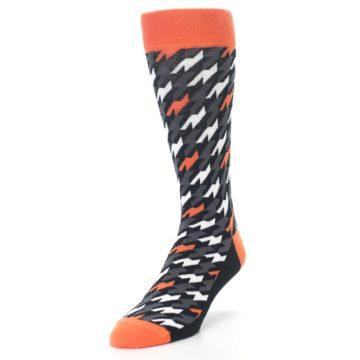 Image of Orange Black Houndstooth Men's Dress Socks (side-2-front-07)