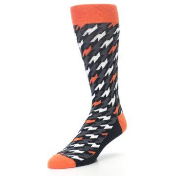Image of Orange Black Houndstooth Men's Dress Socks (side-2-front-08)