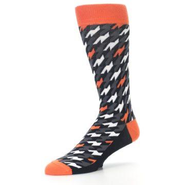 Image of Orange Black Houndstooth Men's Dress Socks (side-2-09)
