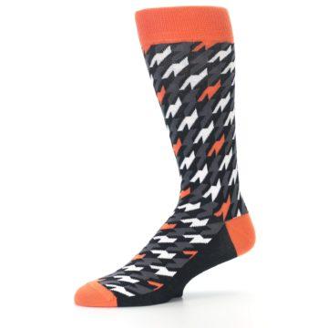 Image of Orange Black Houndstooth Men's Dress Socks (side-2-10)