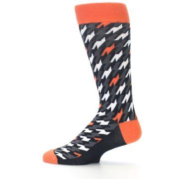 Image of Orange Black Houndstooth Men's Dress Socks (side-2-12)