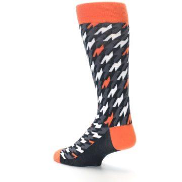 Image of Orange Black Houndstooth Men's Dress Socks (side-2-back-14)