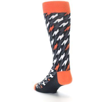 Image of Orange Black Houndstooth Men's Dress Socks (side-2-back-15)