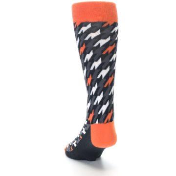 Image of Orange Black Houndstooth Men's Dress Socks (side-2-back-16)