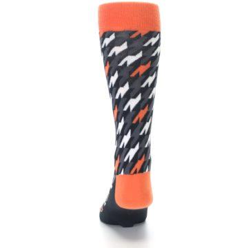 Image of Orange Black Houndstooth Men's Dress Socks (back-17)