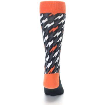 Image of Orange Black Houndstooth Men's Dress Socks (back-18)