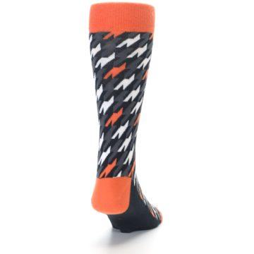 Image of Orange Black Houndstooth Men's Dress Socks (back-19)