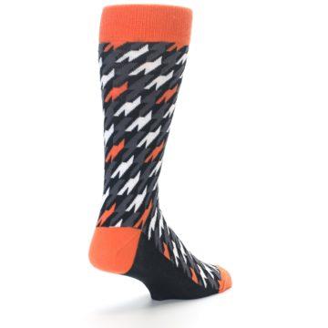 Image of Orange Black Houndstooth Men's Dress Socks (side-1-back-21)